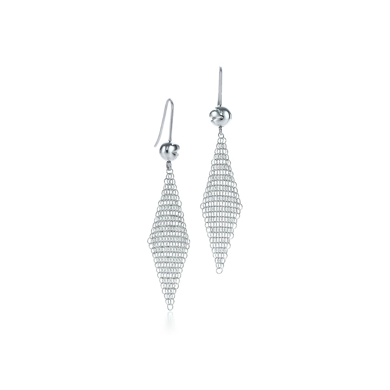 Elsa Peretti Mesh earrings in sterling silver with diamonds, mini Tiffany & Co.
