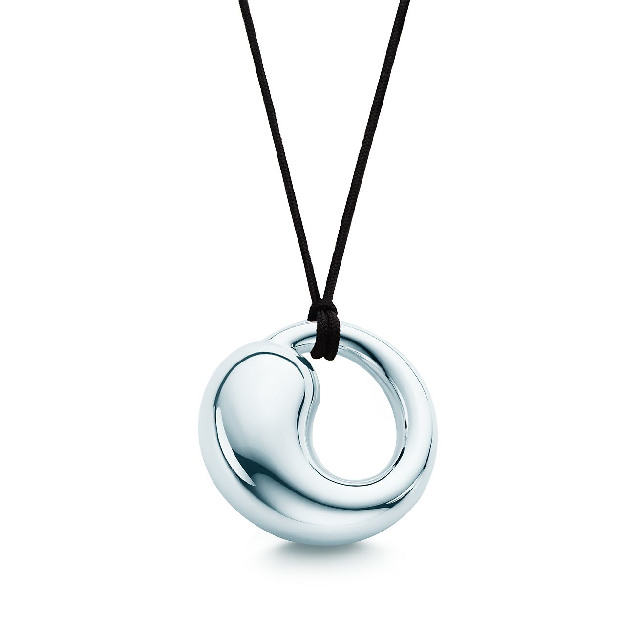 Elsa peretti eternal circle pendant in sterling silver on a black elsa perettieternal circle pendant mozeypictures Choice Image