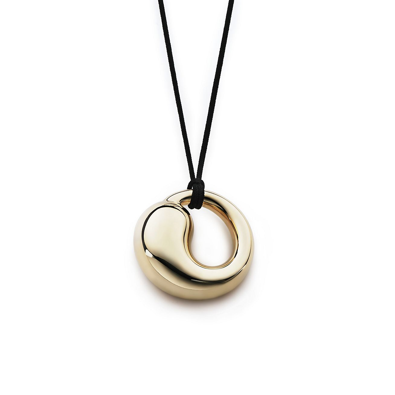 Elsa peretti eternal circle pendant in 18k gold on a black silk elsa perettieternal circle pendant mozeypictures