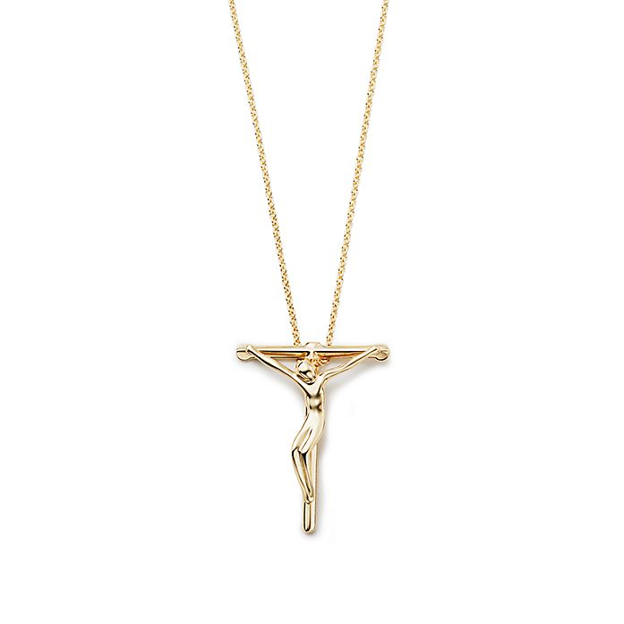 51b42caea Elsa Peretti® crucifix pendant in 18k gold, 27 mm wide. | Tiffany & Co.