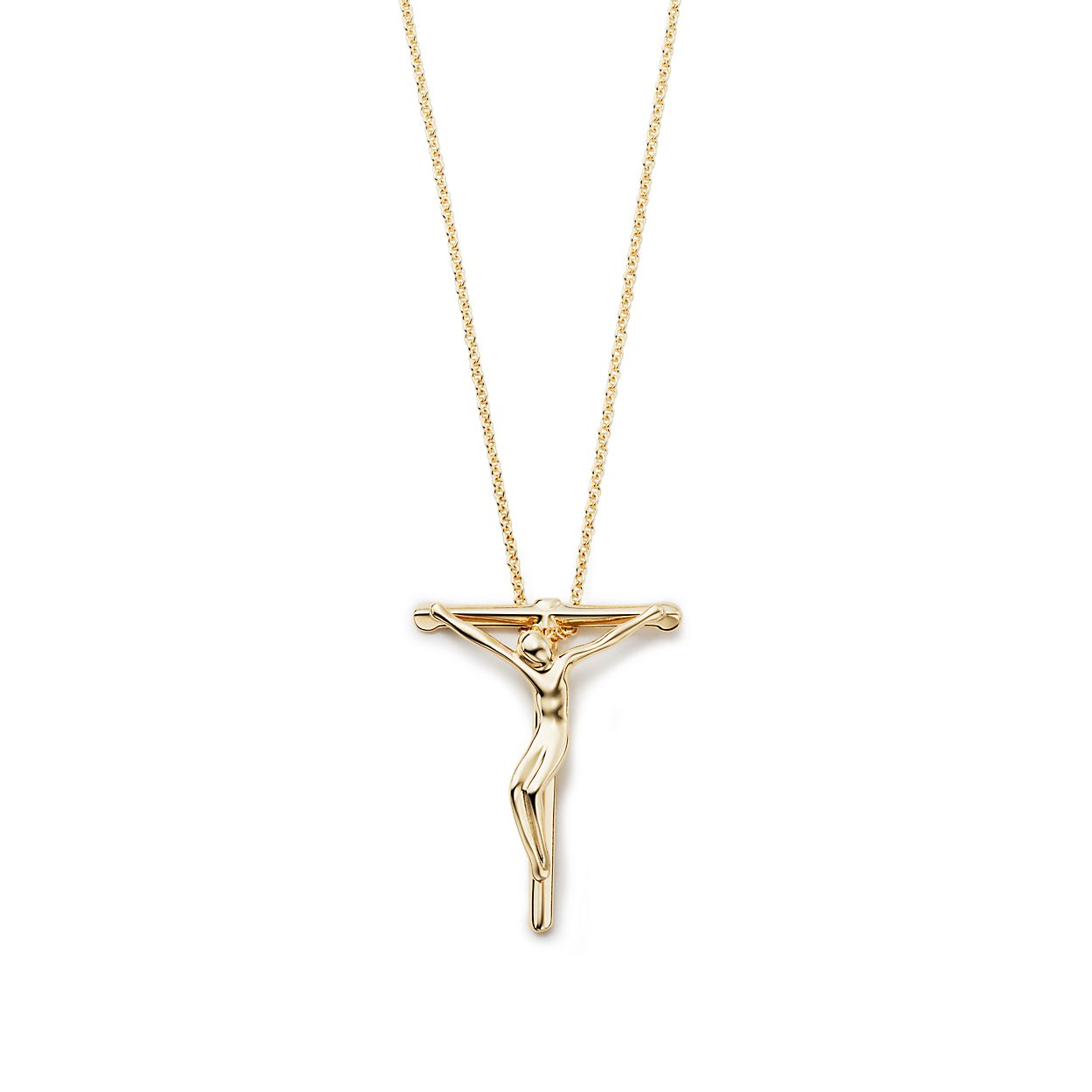 christ crucifix solid inri pendant necklace gold passion yellow mm cross