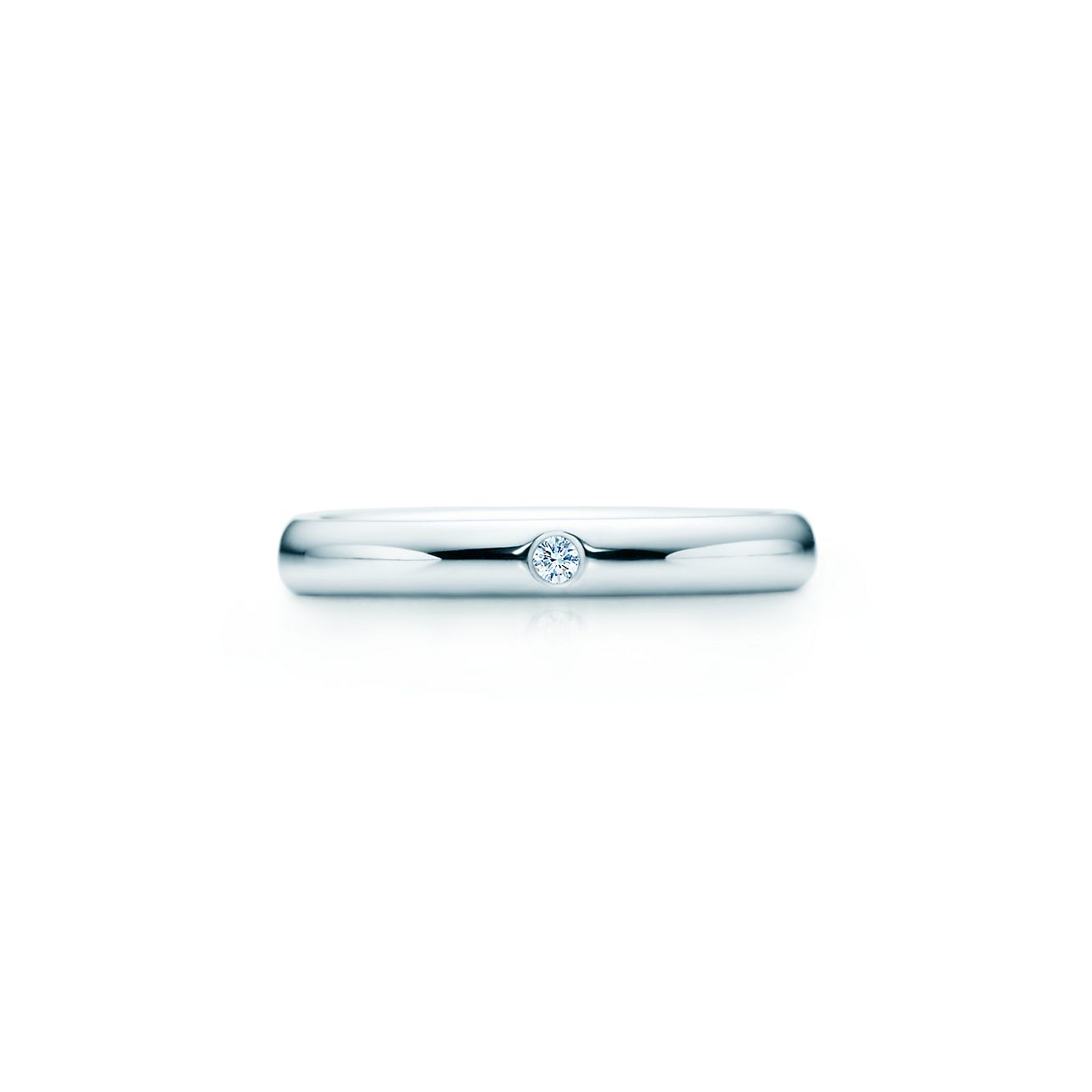 Elsa Peretti® band ring with a diamond in platinum.  48ad6d632f84
