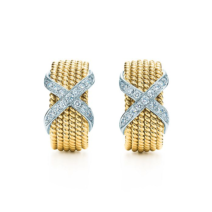 bae67cb52 Tiffany & Co. Schlumberger Rope six-row ear clips in 18k gold with ...