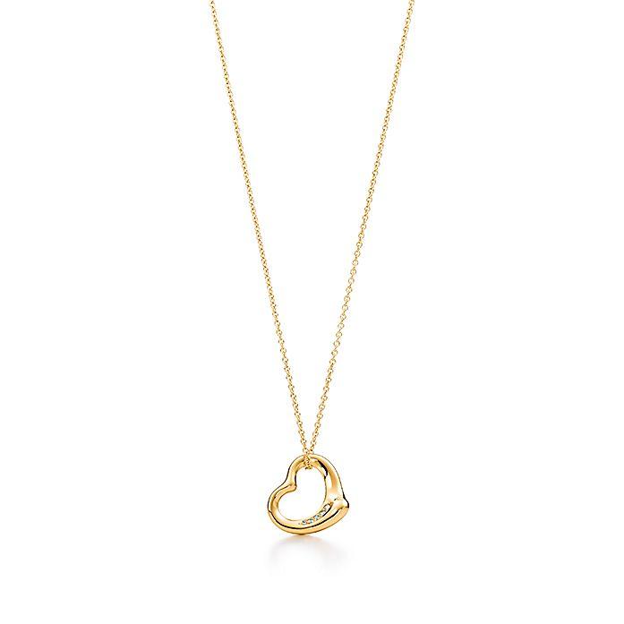 925eb9464 Elsa Peretti® Open Heart pendant in 18k gold with diamonds ...