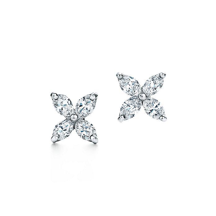 19ac9fa40 Tiffany Victoria® earrings in platinum with diamonds, small ...