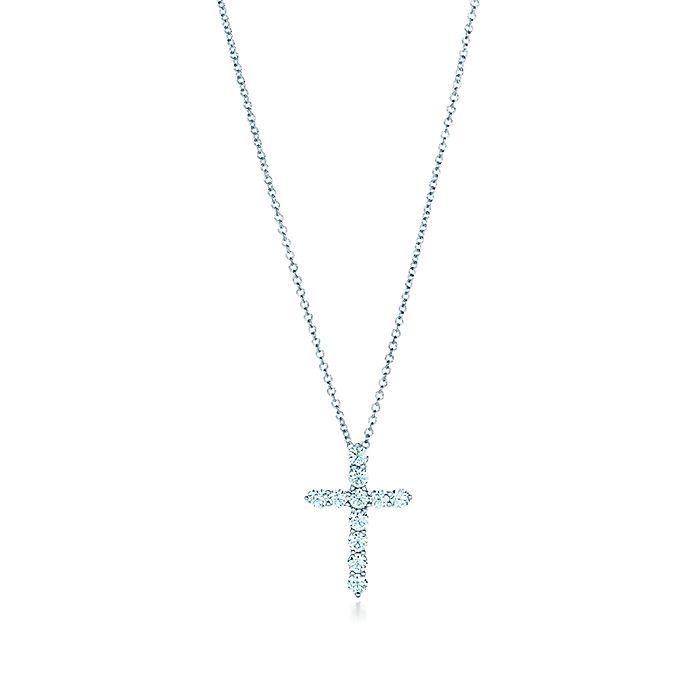 8789c3e67 Cross pendant in platinum with diamonds, small. | Tiffany & Co.