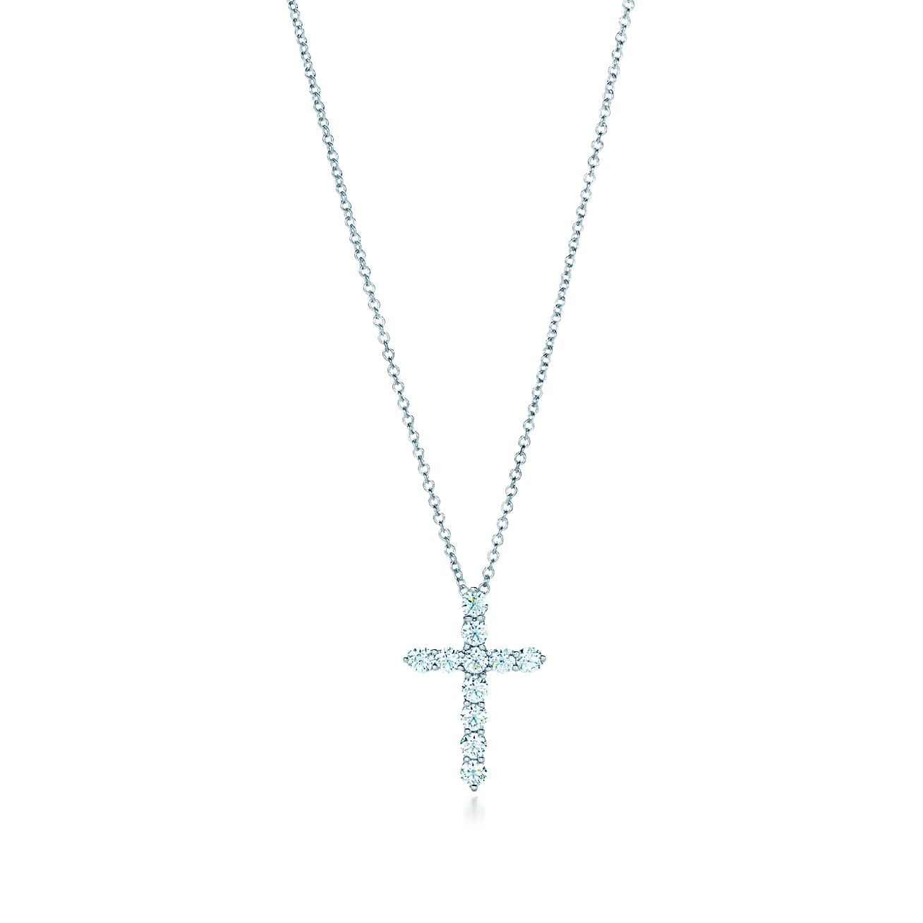 Cross pendant in platinum with diamonds small tiffany co browse necklaces pendants aloadofball Image collections