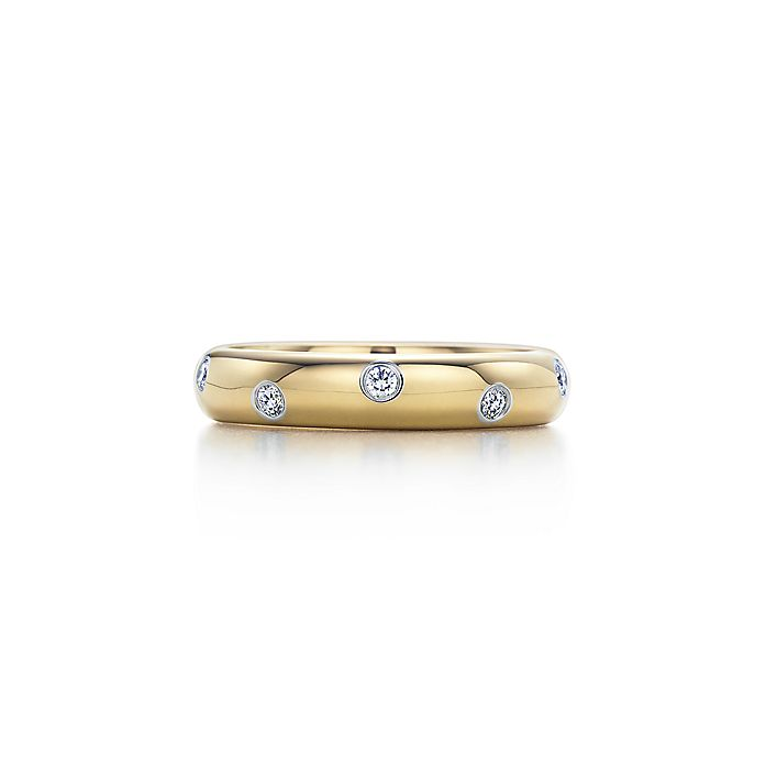 b0f205b8a Etoile band ring in 18k gold with diamonds in platinum, 4 mm ...