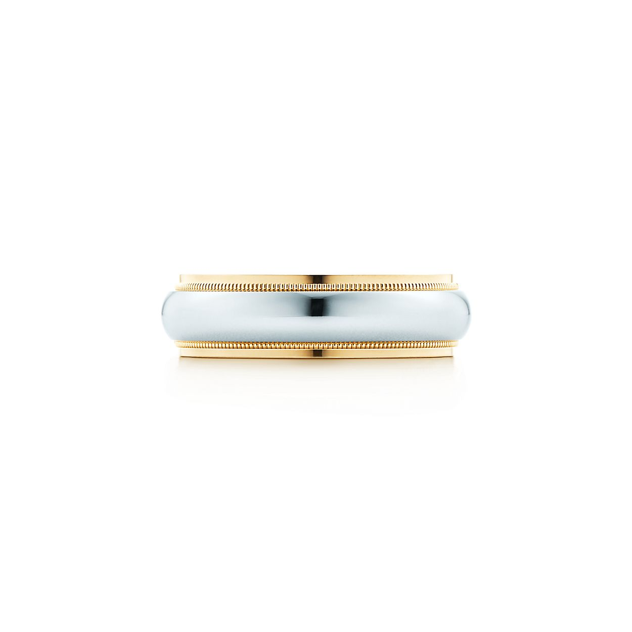 Tiffany Classic milgrain wedding band ring in platinum, 2 mm wide - Size 7 1/2 Tiffany & Co.