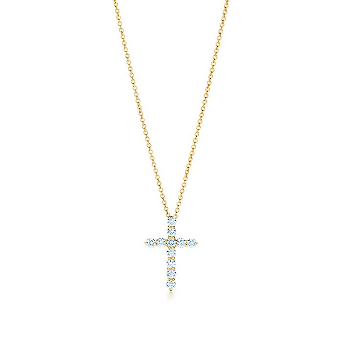 4ed3bbc3e Cross pendant in 18k gold with diamonds, small. | Tiffany & Co.