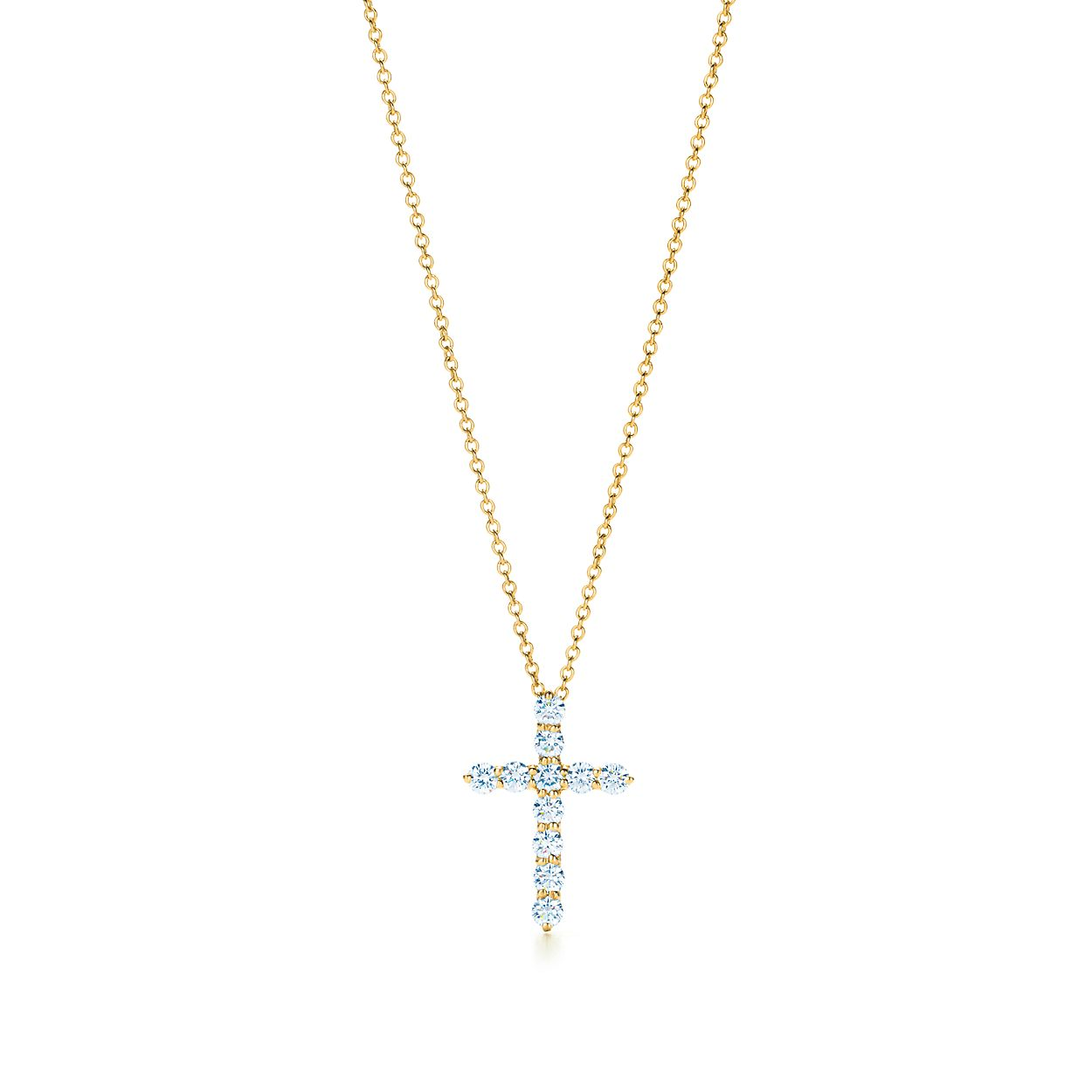 Cross pendant in 18k gold with diamonds small tiffany co cross pendant cross pendant aloadofball Choice Image