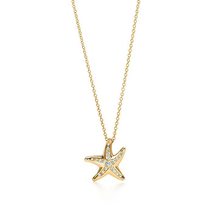 cd59f6b73 Elsa Peretti® Starfish pendant with diamonds in 18k gold, mini mini ...