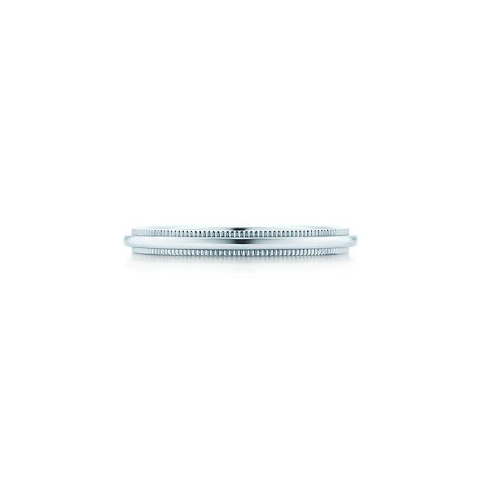 Tiffany Classic Milgrain Wedding Band Ring In Platinum 2 Mm Wide