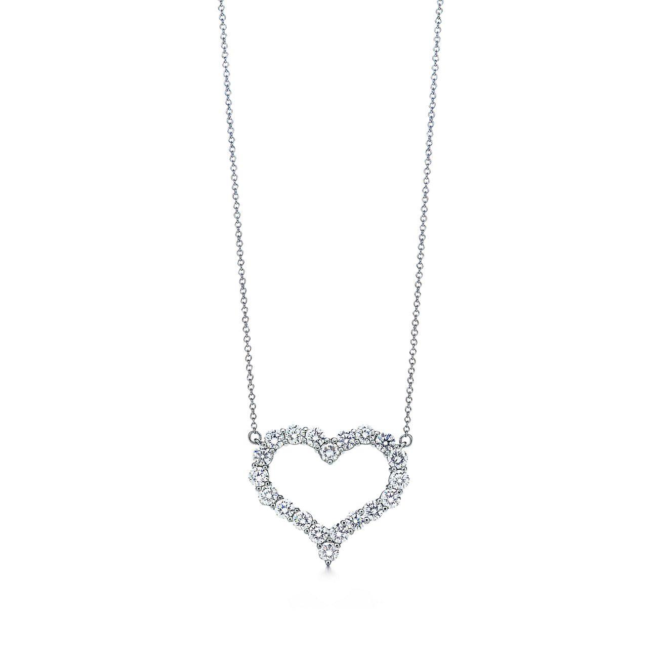 Pendant in platinum with diamonds large tiffany co diamond heart pendant aloadofball Image collections