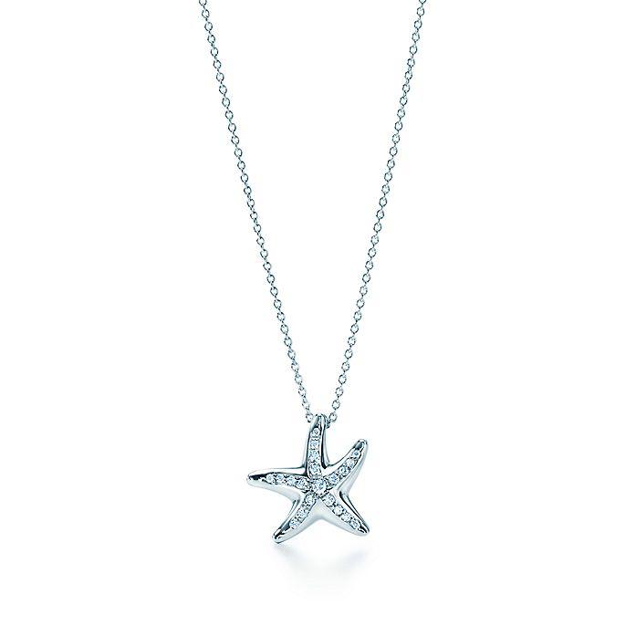 aceb27809 Elsa Peretti® Starfish pendant with diamonds in platinum, mini mini ...