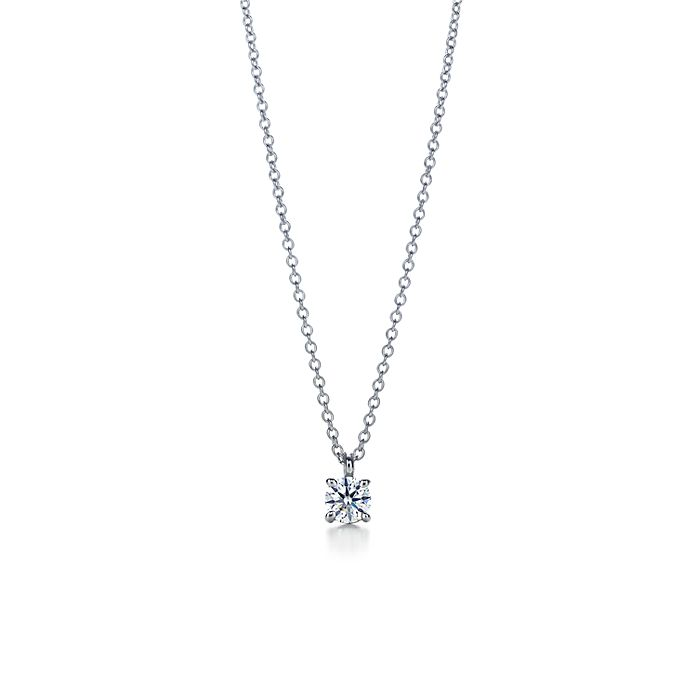 be6eabfc77a26 Tiffany solitaire diamond pendant in platinum.