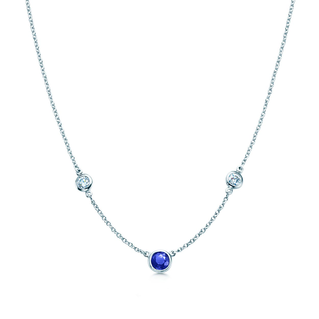cd4fd4347 Elsa Peretti Color By The Yard Necklace Of Diamonds And A Sapphire. Tiffany  Soleste Pendant