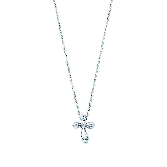 b5d3c318d Elsa Peretti® Platinum Diamond Cross Pendant | Tiffany & Co.