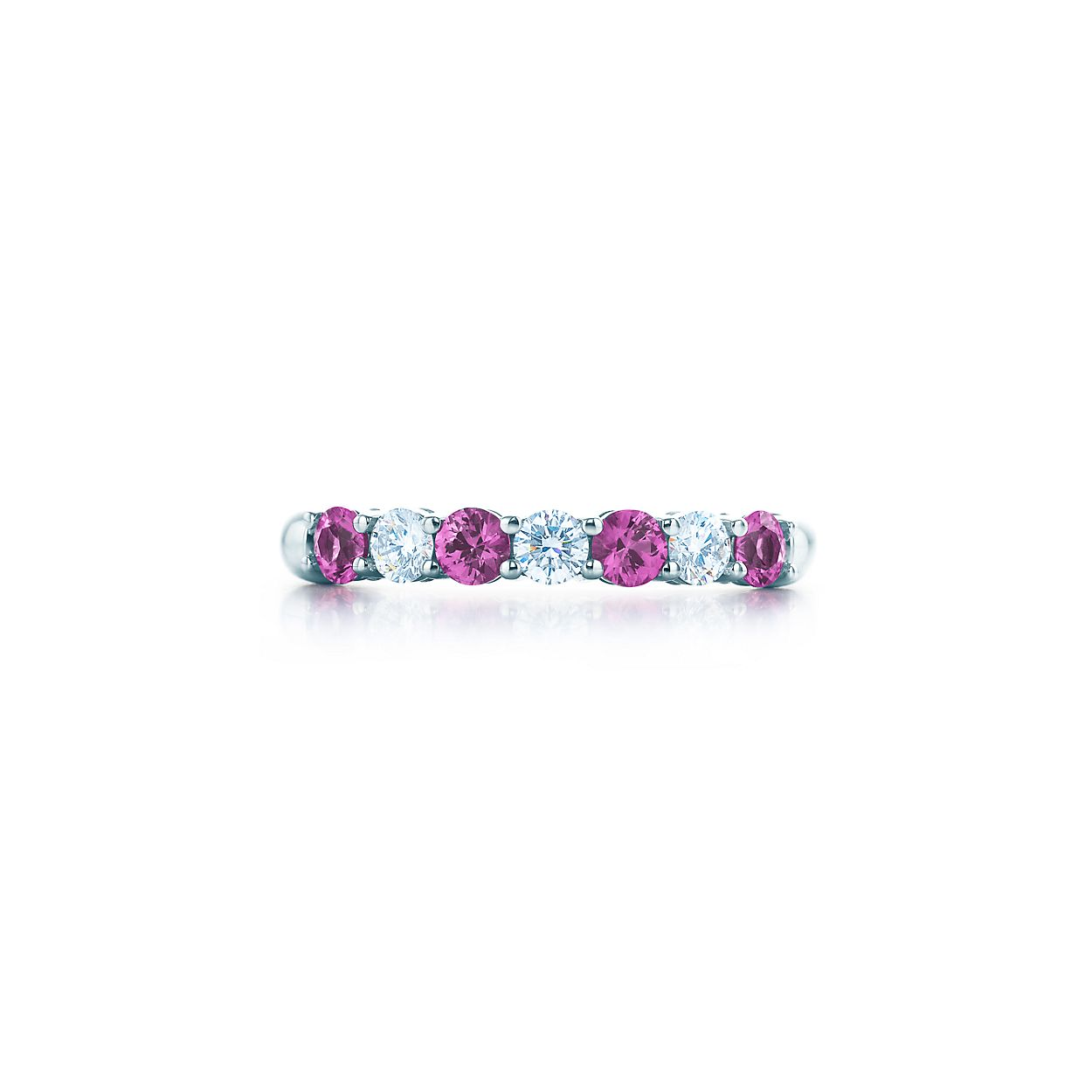 diamond simulated curved nscd jewelers the cushion cut pink sapphire city port w rings halo ring center created tina engagement band