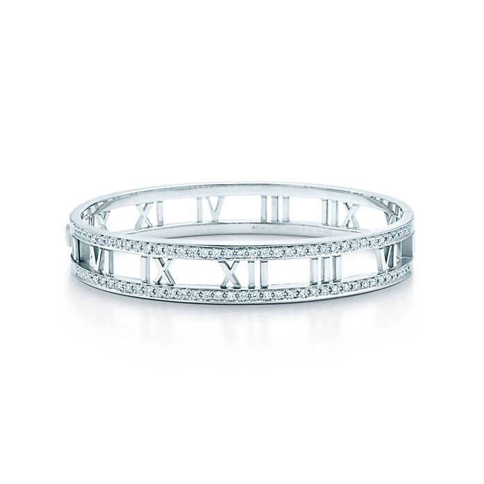 a87b2d7aa Atlas® open hinged bangle in 18k white gold with diamonds. | Tiffany ...