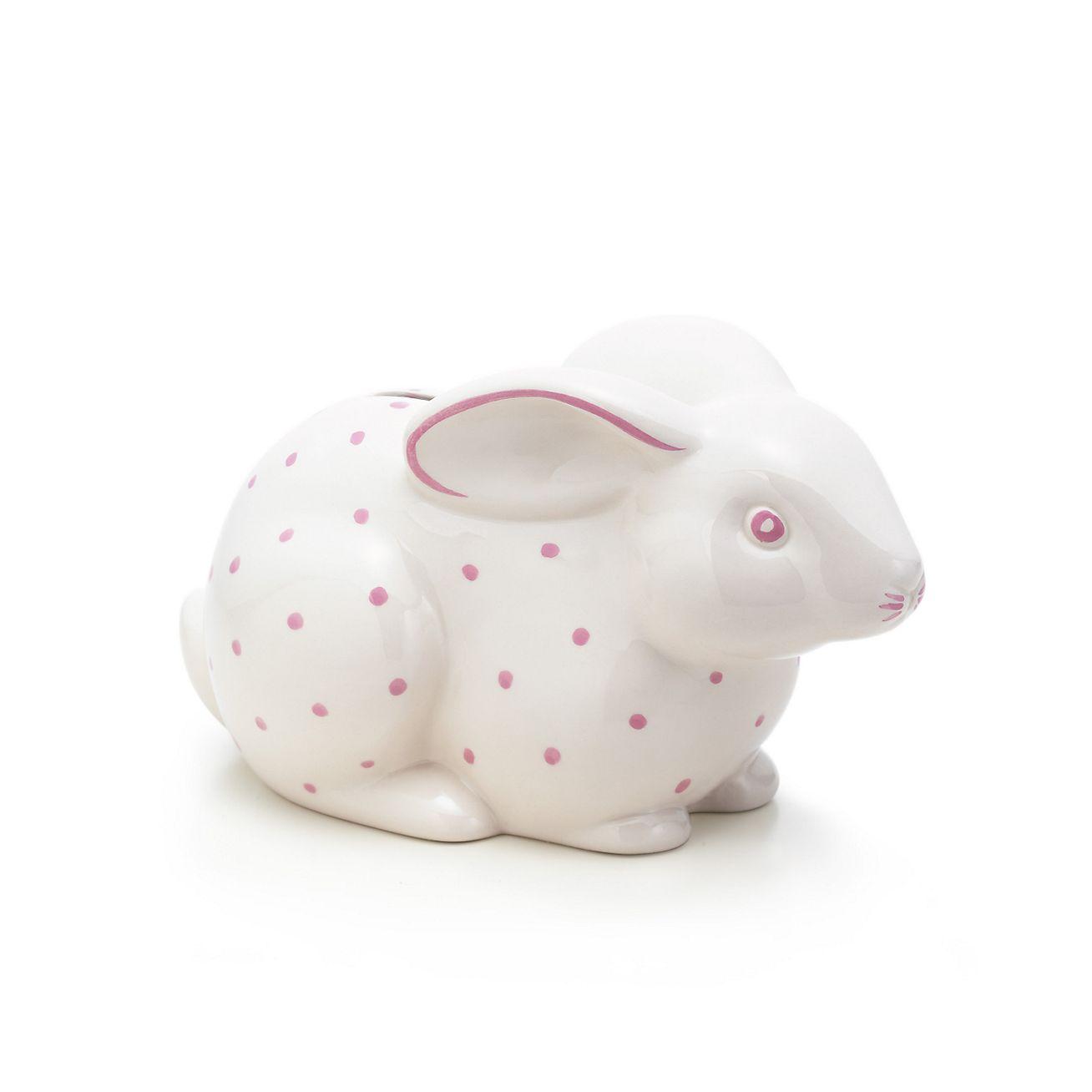 bunny bank in earthenware pink tiffany co