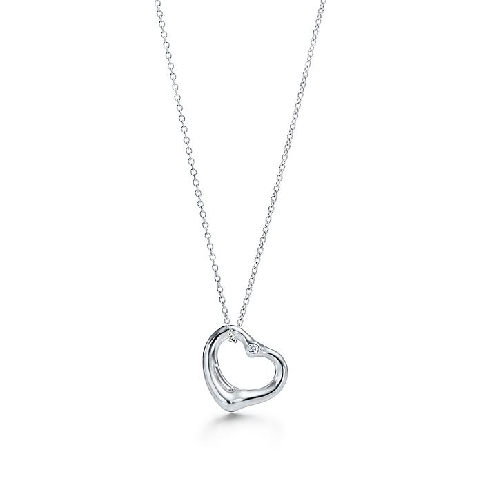 23c54bced0a Elsa Peretti® Open Heart pendant in sterling silver with diamonds ...
