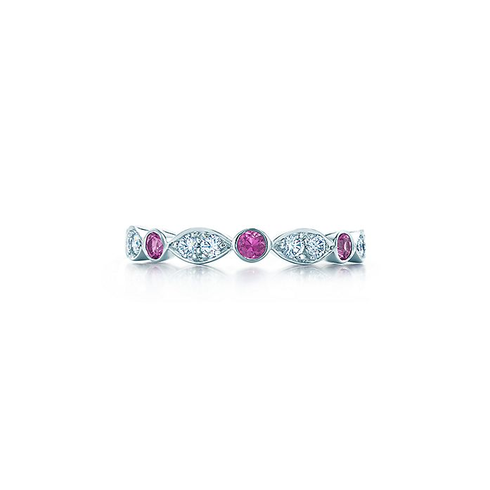 e3de7c90e Tiffany Jazz® ring in platinum with pink sapphires and diamonds ...
