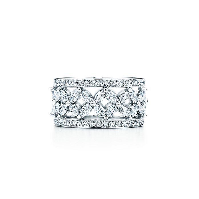 19ec27a1d Tiffany Victoria® band ring in platinum with diamonds. | Tiffany & Co.