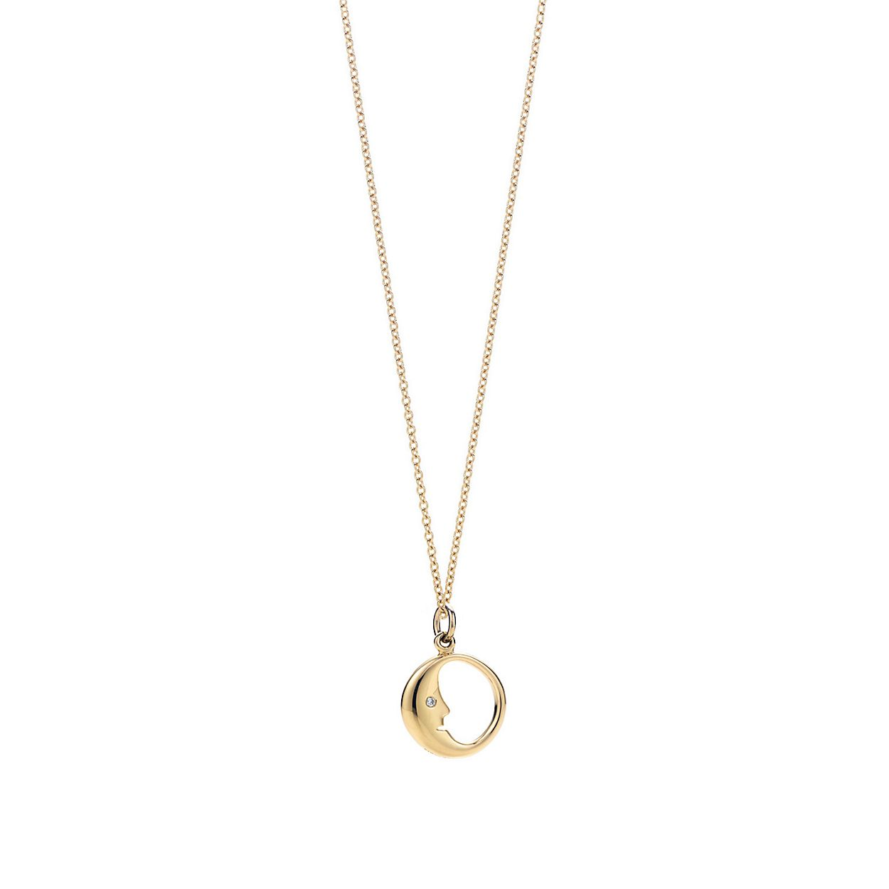 Man in the moon charm diamonds 18k gold on a chain tiffany co man in the moon charm pendant aloadofball Images