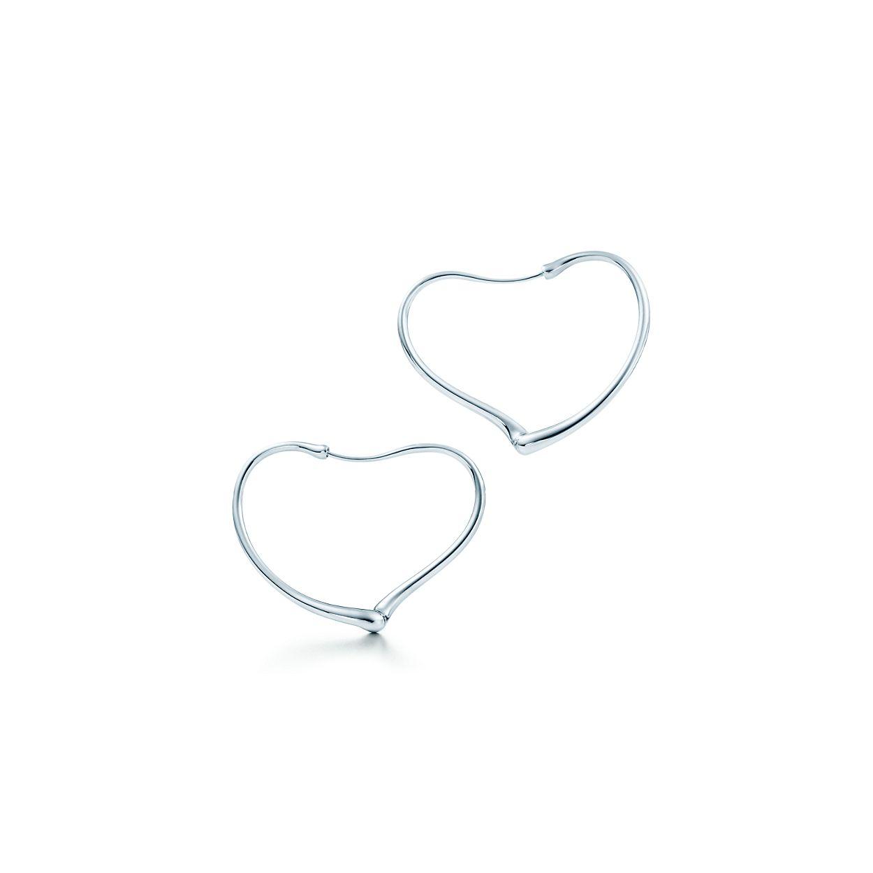 Elsa Peretti Open Heart hoop earrings in sterling silver, small Tiffany & Co.
