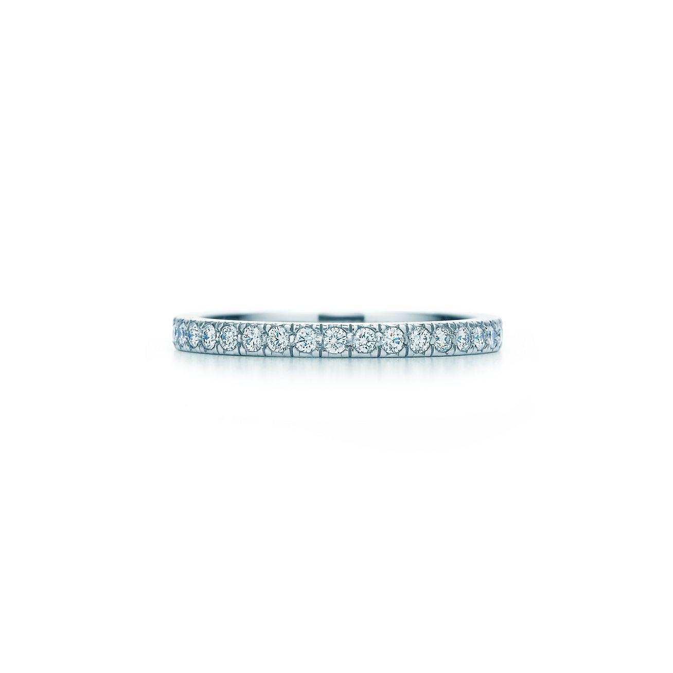 Tiffany Novo Band Ring With Diamonds In Platinum Tiffany Co