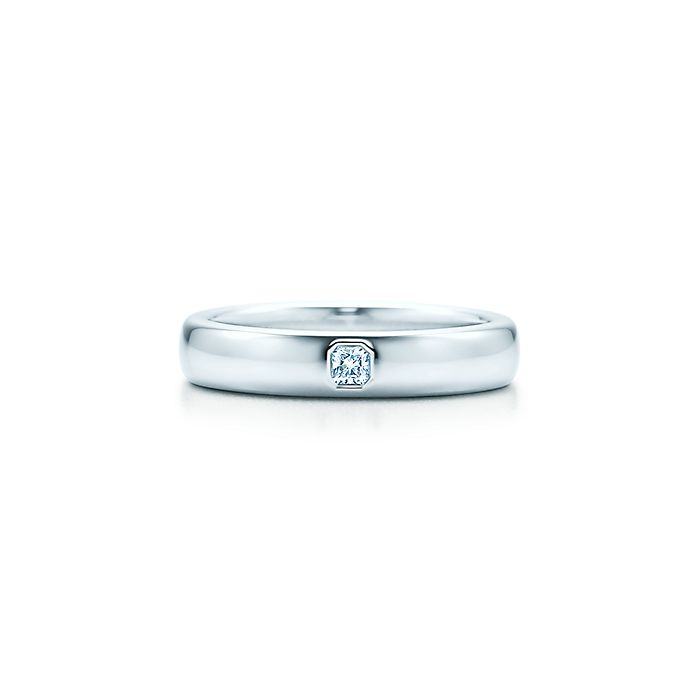 ee4a70830 Tiffany Classic™ wedding band ring in platinum with a diamond, 4 mm ...