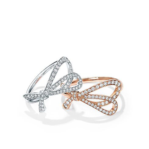 Tiffany Bows Sterling Silver and Rose Gold with Diamonds Rings efeed61e11