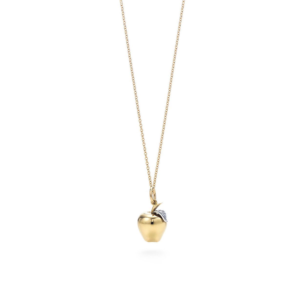 Apple charm diamonds 18k gold on an 18 chain tiffany co apple charm pendant apple charm pendant mozeypictures Image collections