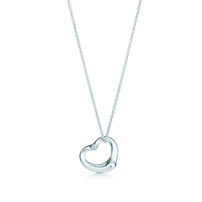 54b4b3fde Elsa Peretti® Open Heart pendant in sterling silver with a diamond ...