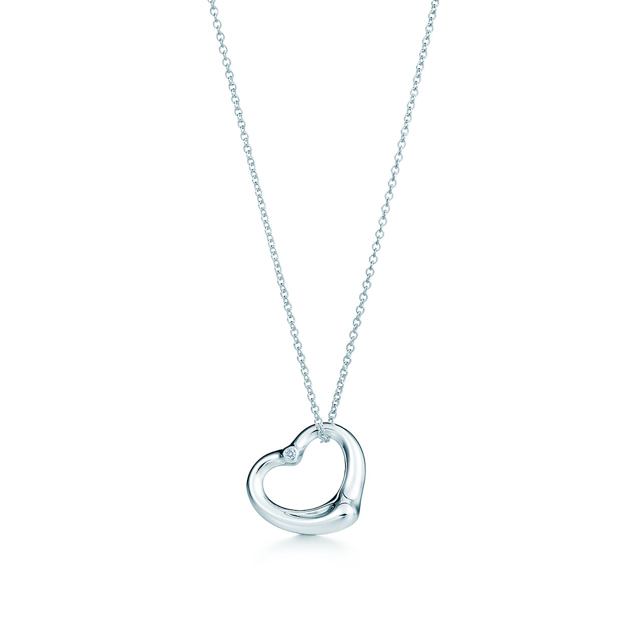 Elsa peretti open heart pendant in sterling silver with a diamond elsa perettiopen heart pendant aloadofball Image collections