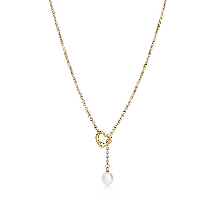 fba7fdea0 Elsa Peretti® Open Heart lariat in 18k gold with a freshwater pearl ...