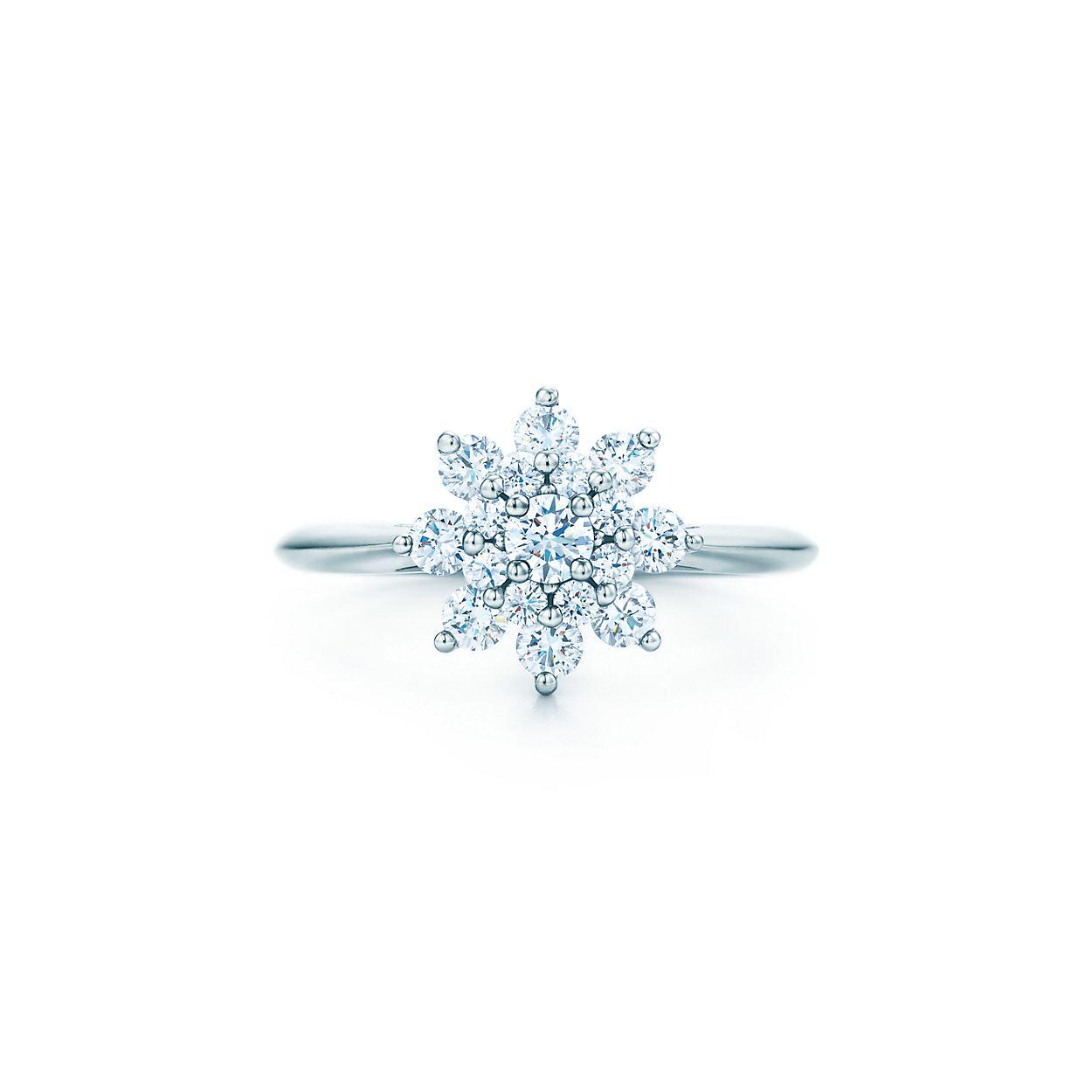 Shop Platinum And Diamond Flower Ring Tiffany Co