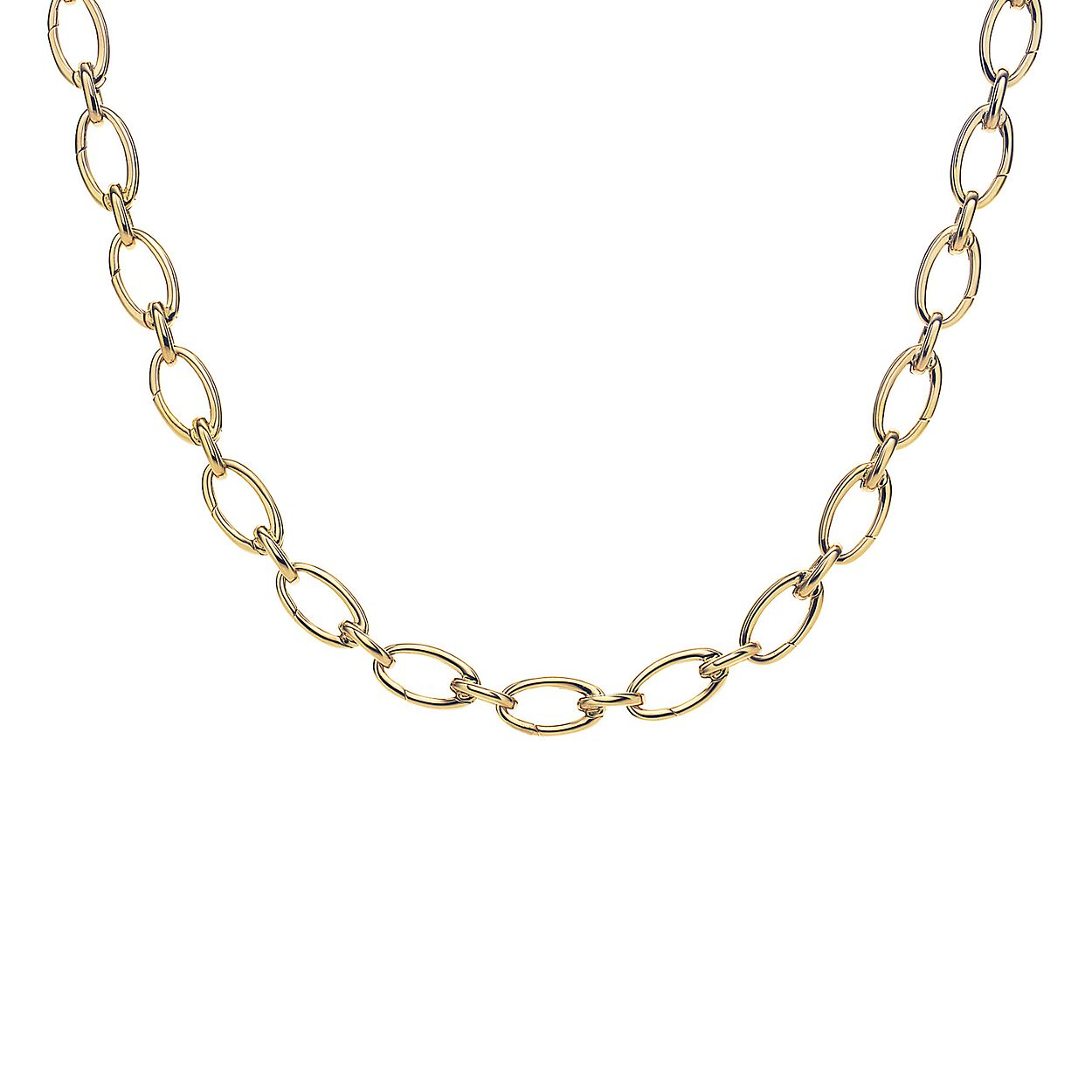 Link clasp necklace in 18k gold 18 long tiffany co link clasp necklace link clasp necklace aloadofball Gallery