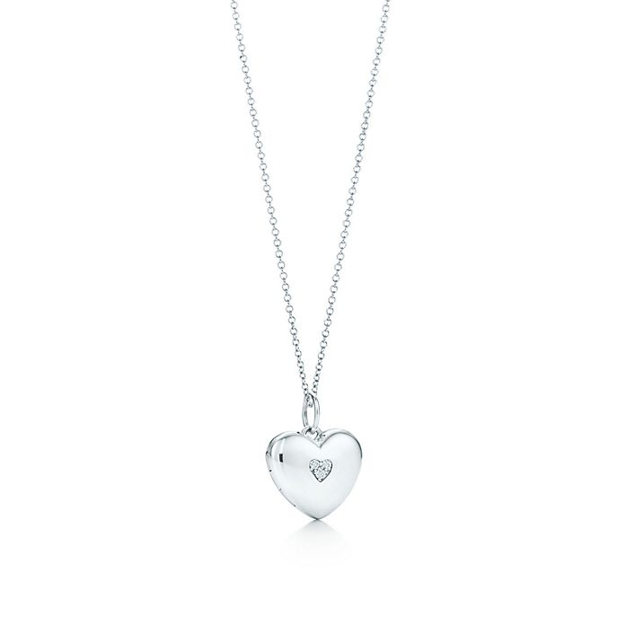 31810200e Heart locket in sterling silver with diamonds on a chain. | Tiffany ...