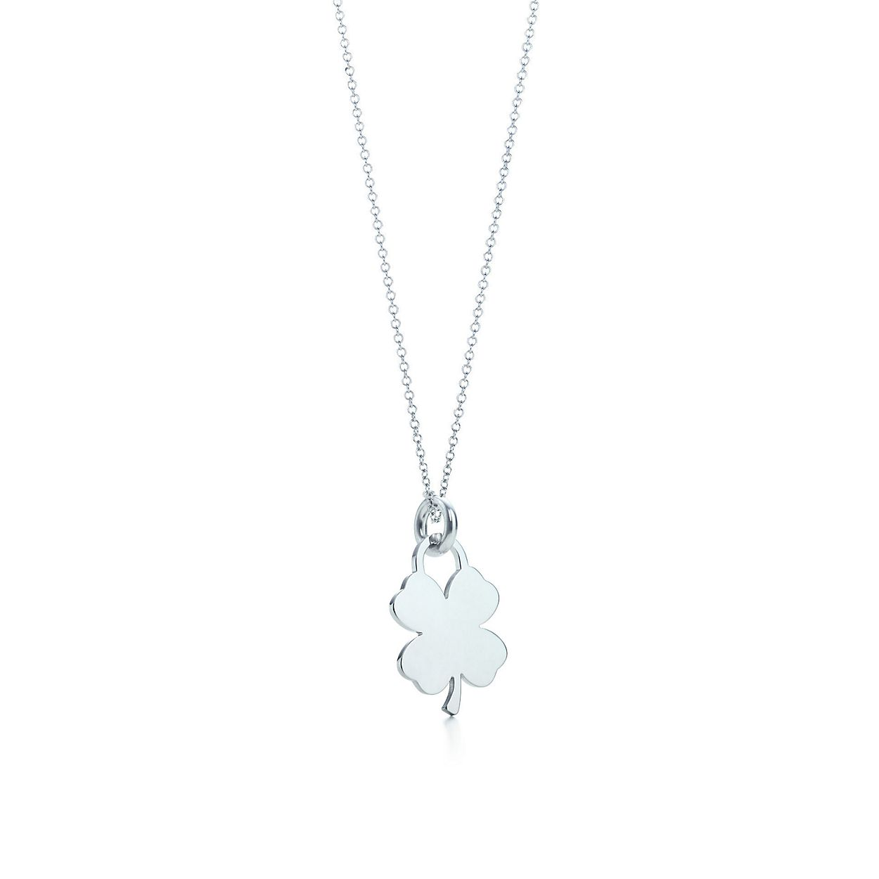 Four leaf clover tag charm in sterling silver on a chain tiffany four leaf clover tag charm and chain aloadofball Choice Image