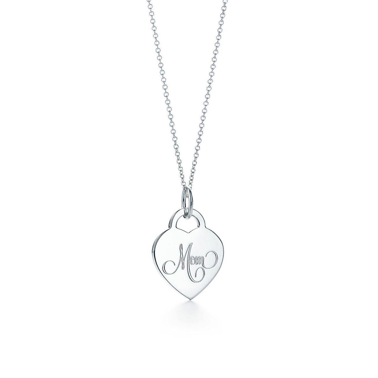 Mom heart tag charm in sterling silver on a chain tiffany co mom heart tag charm and chain aloadofball Images