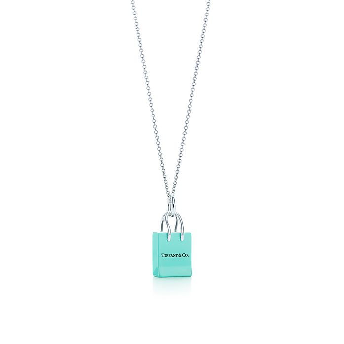 2ecaeae1f2 Shopping Bag charm with enamel finish in silver on a chain. | Tiffany & Co.