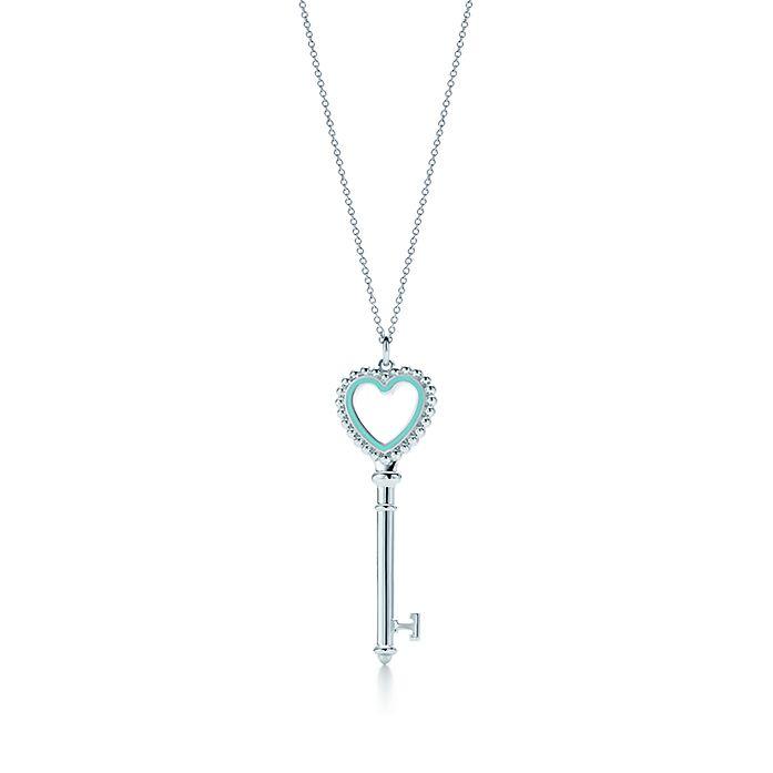 4c051a81f81 Tiffany Keys beaded heart key pendant in silver with enamel finish ...