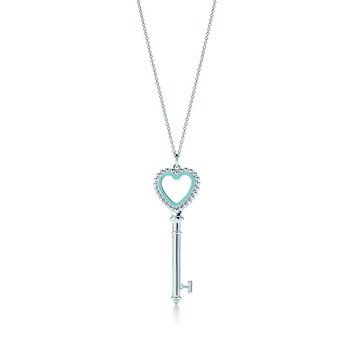 125b370c83040 Tiffany Keys beaded heart key pendant in silver with enamel finish ...