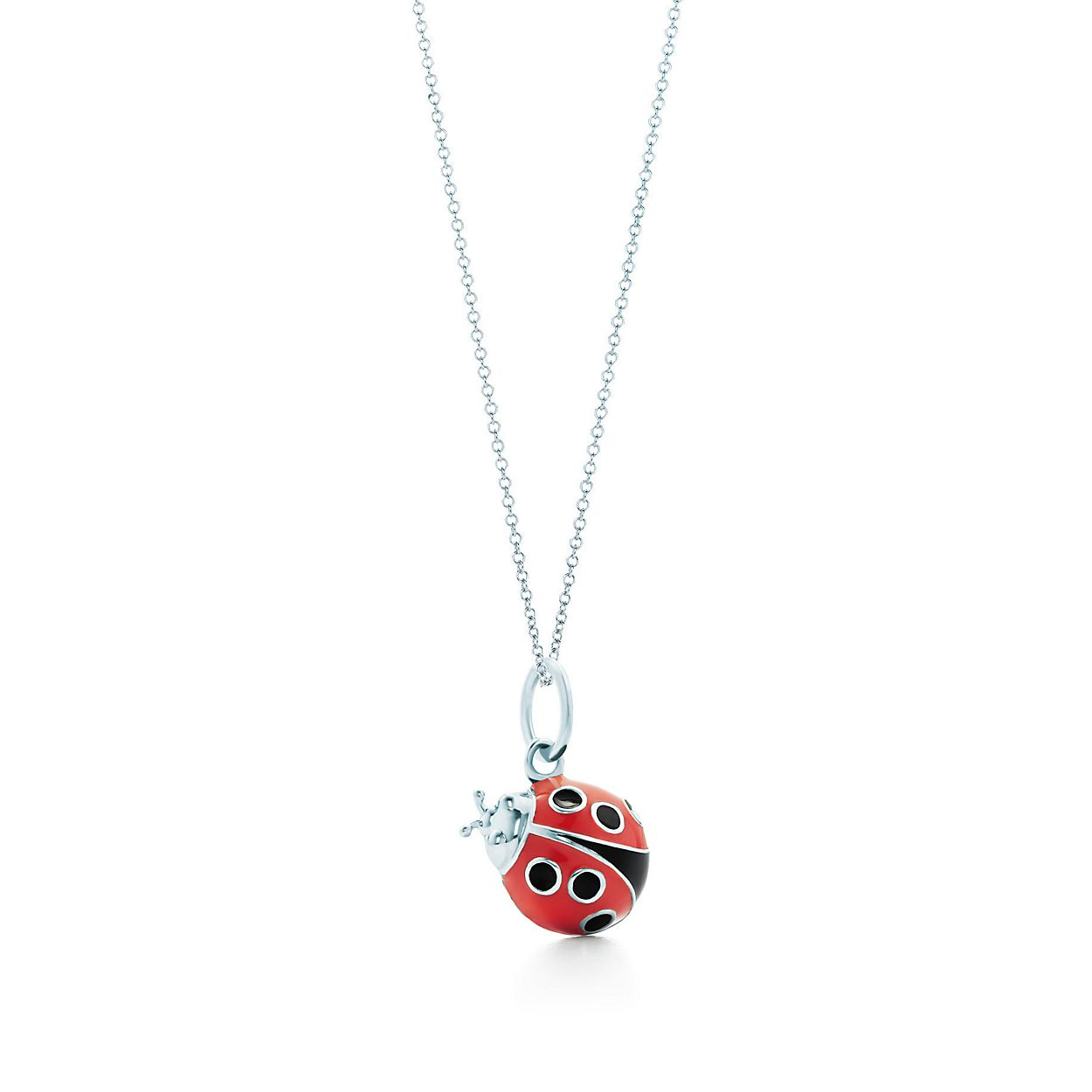 Ladybug charm in sterling silver with blue and black enamel finish, small Tiffany & Co.