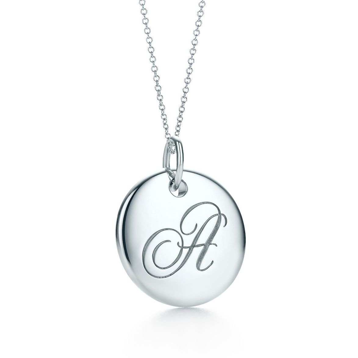 necklace plated bling letter silver initial a cz alphabet pendant jewelry cursive rhodium