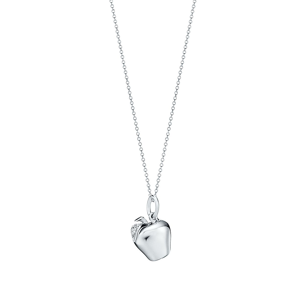 Apple charm in sterling silver on a chain tiffany co apple charm and chain apple charm and chain aloadofball Choice Image