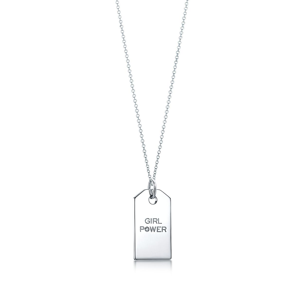 Tiffany charms girl power tag in sterling silver with a diamond tiffany charmsgirl power tag aloadofball Images