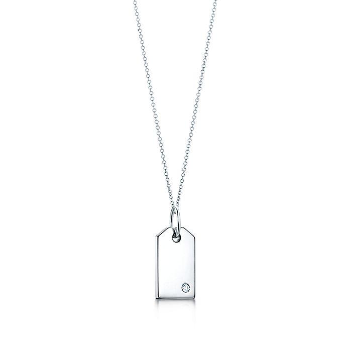 da553136c Tiffany Charms tag in 18k white gold with a diamond, mini.   Tiffany ...